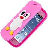Semoss Pingouin Flip Etui Housse Coque Silicone en Cuir style pour Samsung Galaxy Trend GT-S7560 / Galaxy S Duos S7562 Flip Cover - Rose