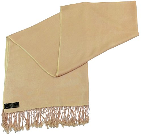 champagne-solid-colour-design-nepalese-shawl-pashmina-scarf-wrap-cj-apparel-new
