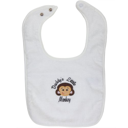 Daddy'S Little Monkey Bib White front-1044575