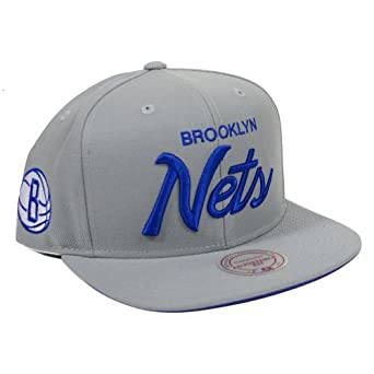 Brooklyn Nets Mitchell & Ness Solid Special Script Snapback Hat -Blue Grey by Mitchell & Ness