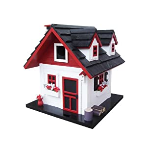 Home Bazaar Cherry Hill Bird House, White/Red/Black