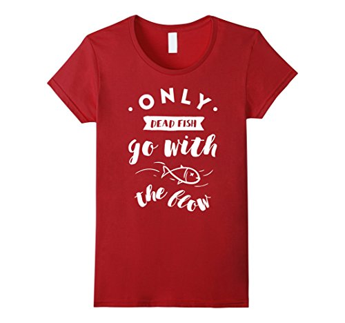Women's Only Dead Fish Go With The Flow T-Shirt Medium Cranberry