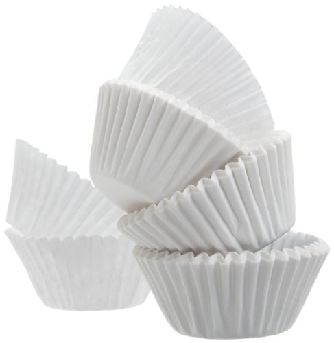 ChefLand Mini Muffin Baking Paper Cups Cupcake Liners 300 Count, White (Mini Muffin Cupcake Liners compare prices)