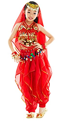 AvaCostume Belly Dancing Outfits 6-Piece Set Costume for Girls
