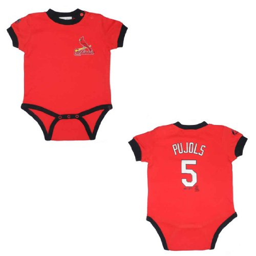 MLB St. Louis Cardinals Pujols #5 Baby One-Piece Romper / Onesie 24 Red at Amazon.com