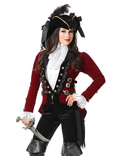 Womens Sultry Pirate Lady Wine And Black Velvet Captain Costume Jacket Coat