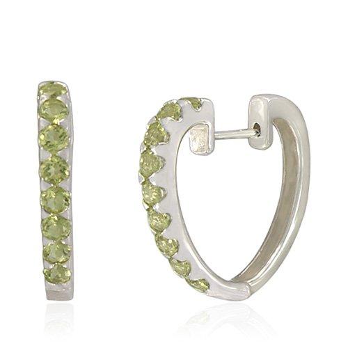 Sterling Silver Round-Shaped Lemon Quartz Hoop Earrings