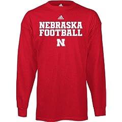 adidas Nebraska Cornhuskers Long Sleeve Football T-Shirt - Red by adidas