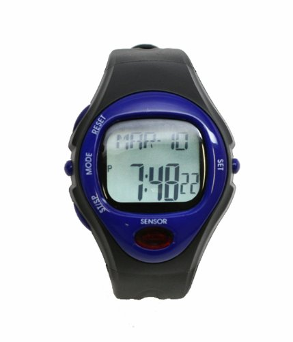 Cheap Pulse Rate Watch in Black and Blue with Heart Rate Monitor (PULSERATEWATCH)