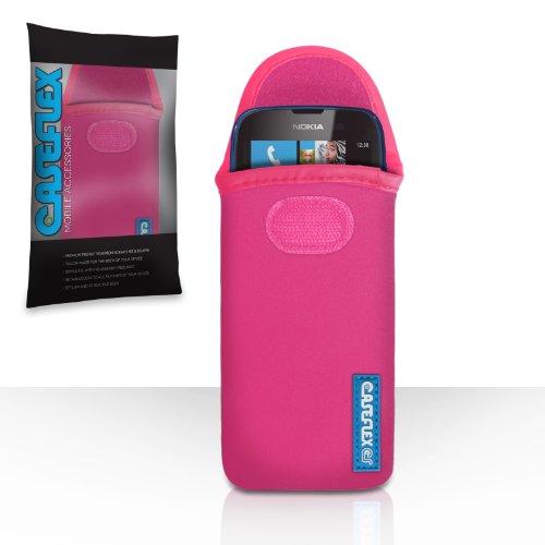 Nokia Lumia 610 Tasche Heiß Rosa Neopren Beutel Hülle Mit Caseflex Logo