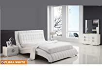 Hot Sale American Eagle Furniture Flora White Bonded Leather & Glossy Veneer Queen Size Bedroom Set