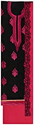 Fakri Garment Women's Cotton Silk Unstitched Dress Material (Black and Pink)