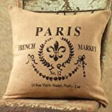 Paris French Market No.12 Cotton Burlap Throw Pillow - 16-in x 16-in