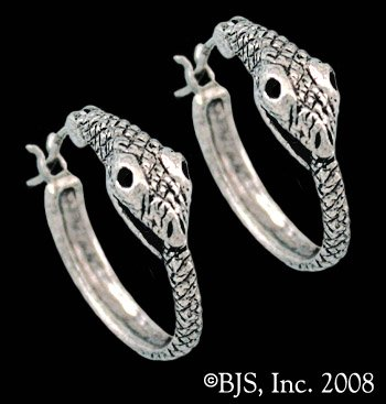 Wide Eyed Snake Asp Eating Tail Ouroboros of Infinity Hoop Earrings in Sterling Silver (Snake Tail Ring compare prices)