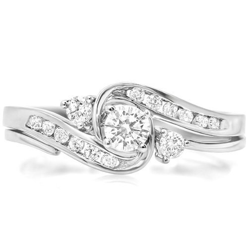 0.58 Carat Diamond Bridal Sets Round Cut Diamond on 14K White gold