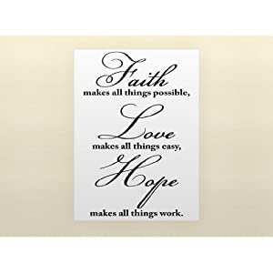 #!Cheap FAITH MAKES ALL THINGS POSSIBLE, LOVE MAKES ALL THINGS EASY, HOPE MAKES ALL THINGS WORK Vinyl wall quotes religious sayings scriptures home art decor decal