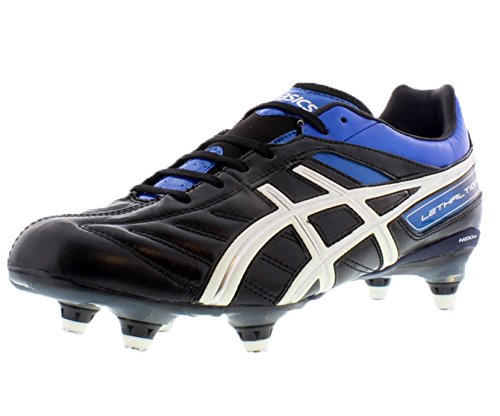 ASICS Men's Lethal Tigreor 4 ST Soccer Shoe,Black/White/Pacific Blue,11.5 M US