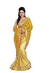 Radhe Krishna Creation Women's Net Saree(RKC01,Gold)
