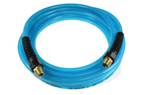 Coilhose Pneumatics PFE40254T Flexeel Reinforced Polyurethane Air Hose, 1/4-Inch ID, 25-Foot Length with (2) 1/4-Inch MPT Reusable Strain Relief Fittings, Transparent Blue