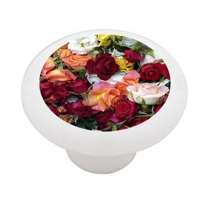 Bed of Roses Decorative High Gloss Ceramic Drawer Knob