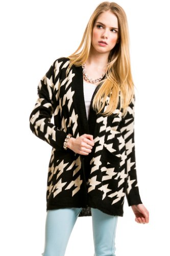Thick Knit Houndstooth Cardigan In Black/White
