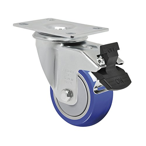 """Schioppa L12 Series, Gla 312 Tp G, 3 X 1-1/4"""" Swivel Caster With Total Lock Brake, Non-Marking Thermoplastic Compound Wheel, 150 Lbs, Plate 3-3/4 X 2-1/2"""" (Bolt Holes 3 X 1-3/4"""") front-491245"""