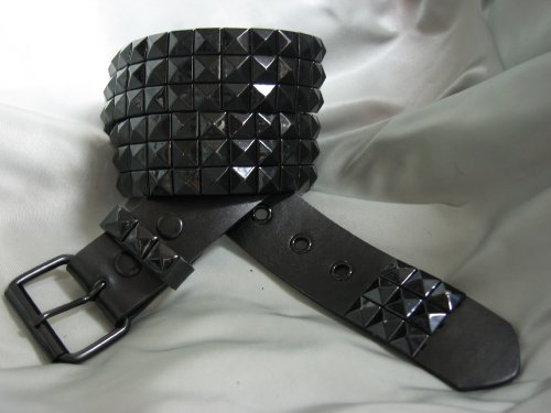 Black Leather Belt Studded Belts Size Medium Punk Rock Belts