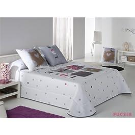 Colcha bouti Love - cama 105 cm - Fucsia