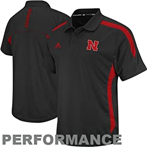 Nebraska Cornhuskers Adidas 2012 Sideline Black Performance Polo Shirt by adidas