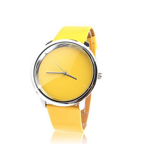 Fashionable Quartz Wrist Watch with Yellow PU Band