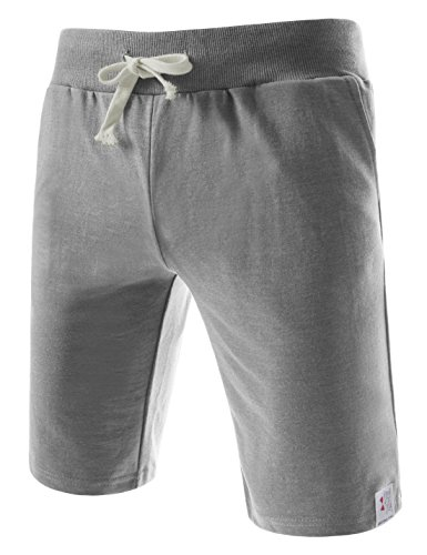 (TTS01) Unisex Cotton Jersey Waist Elastic Jogger Training Beach Board Shorts GRAY Large(US 32~34)