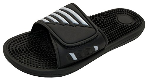 Men's Massage Waterproof Shower Slides Slip-on Slippers with Velcro Closure - Black / Navy Blue (9, Black) Athletic Bath