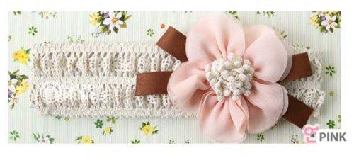 新型★赤ちゃん ヘアアクセサリー★ヘアバンド カチューシャ スポンジ粒花柄赤ちゃんの髪飾り (浅いピンク)