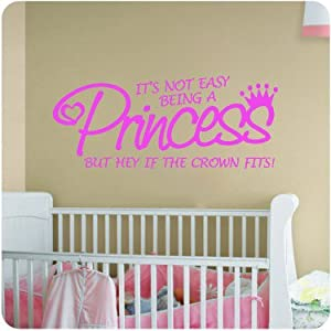 Princess pink if the crown fits little girls room nursery decal wall