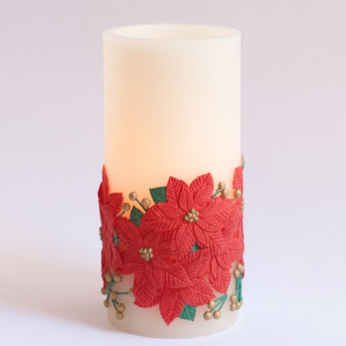 """Candle Impressions Scented 8"""" Festive Poinsettia Wax Flameless Battery Operated Led Candle With Programmable Timer"""
