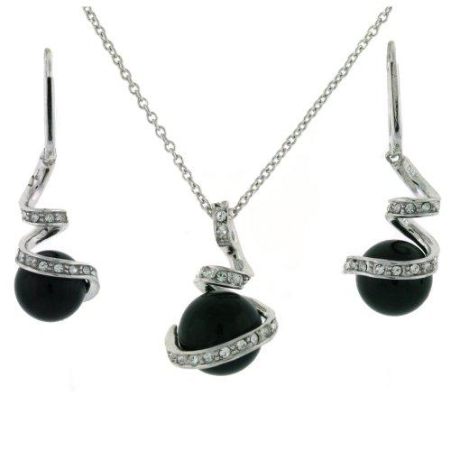 Exquisite Sterling Silver CZ Black Pearl Majorca