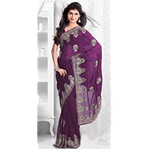 Bewitching Look Border Saree | Purple Saree