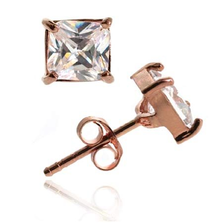18K Rose Gold over Sterling Silver CZ 6mm Square Stud Earrings