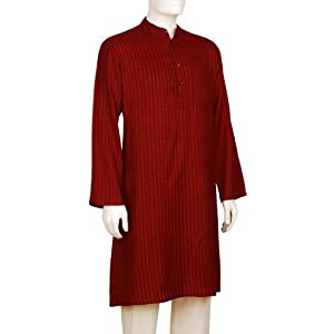 Men's Tussar Cotton Nizam Dobby Long Kurta|46|Red