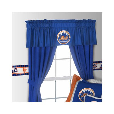 "MLB Rod Pocket Drape Single Panel Size: 82"" H x 63"" W, MLB Team: New York Mets at Amazon.com"