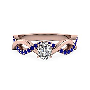 0.80 Ct Oval Shaped Diamond And Sapphire Gemstone Engagement Ring For Women 14K GIA (G Color, IF Clarity)