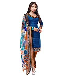 5 star crepe silk unstiched chudidar salwar suit duppata dress material (BLUE) FREE DELIVERY