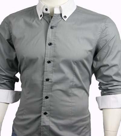GL Fashions Men's Casual Long Sleeve Dress Shirt - Grey - XXL