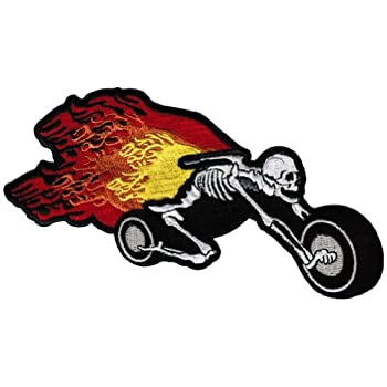 Flaming Skeleton Chopper Patch Embroidered Skull Motorcycle Flames Biker Emblem