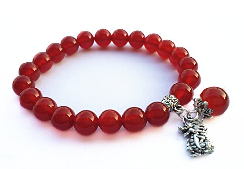 Feng Shui Handmade Chinese Zodiac Red Agate Beads Bracelet And A Gift Pounch With Betterdecor Logo Printed On It (Dragon)