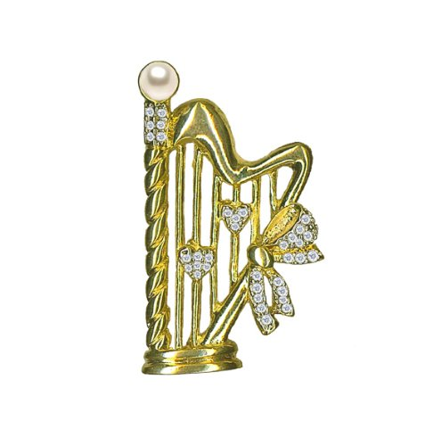 Willow Xpress CZ Harp Goldtone Pin with Voyeur Pearl Accent