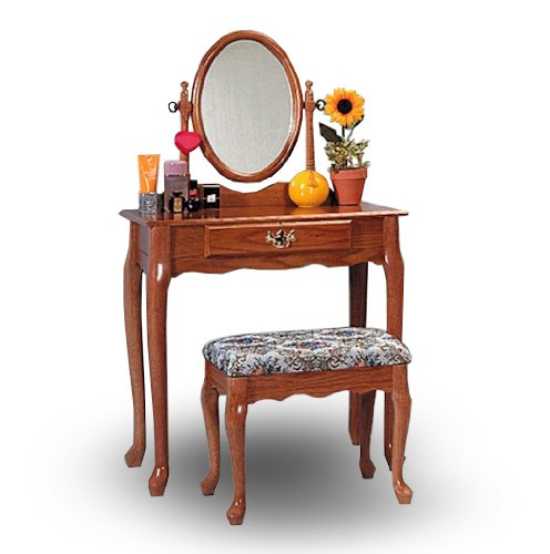 Oak Wood Vanity With Table & Bench Set 0
