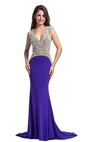 Chic Belle Women Ity Beaded Party Evening Gown Prom Dress 2016(4