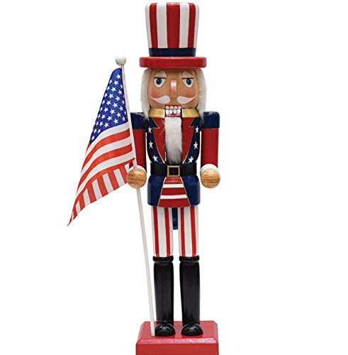 Patriotic Nutcracker with American Flag