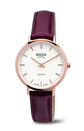 Boccia Women's Quartz Watch with White Dial Analogue Display and Purple Leather Strap B3246-02